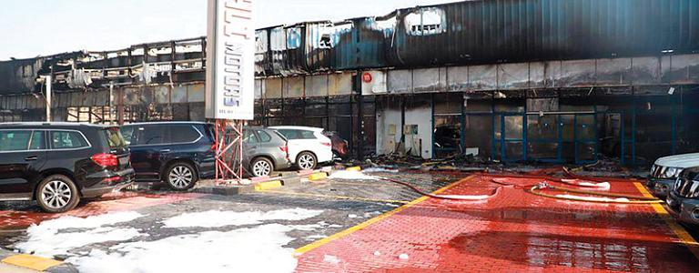 A massive fire broke out in the eighth car showrooms in Dubai